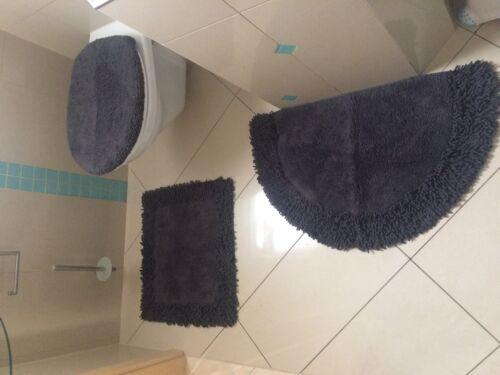 Badteppich Badgarnitur Teppich Badematte Toilettenbezug Duschvorleger grau neu