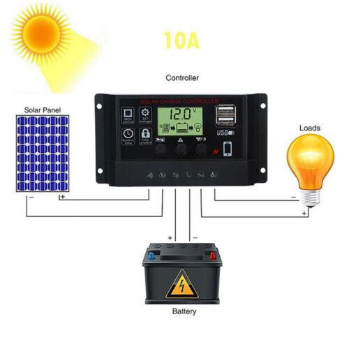 USB 10//20//30//40//50//60A Panneau solaire batterie régulateur charger contrôleur 12 V 24 V