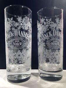 Jack Daniels Glasses Highball Holiday Winter Snowflake Christmas Bar Set Of 2
