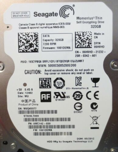 ST320LT009 9WC142-030 FW:1001DEMA WU 320gb Sata Laptop Drive