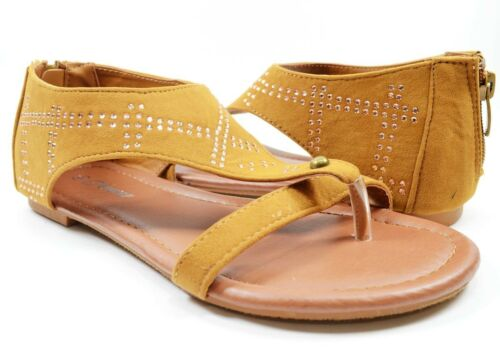 Women Comfortable Sandals Flat Fashion Ankle Cute Rhinestones Design Zipper