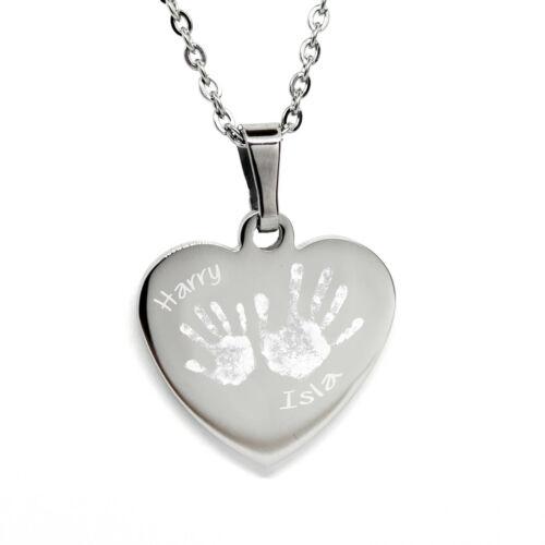 Personalizado Grabado Corazón Collar//Colgante de impresión de mano