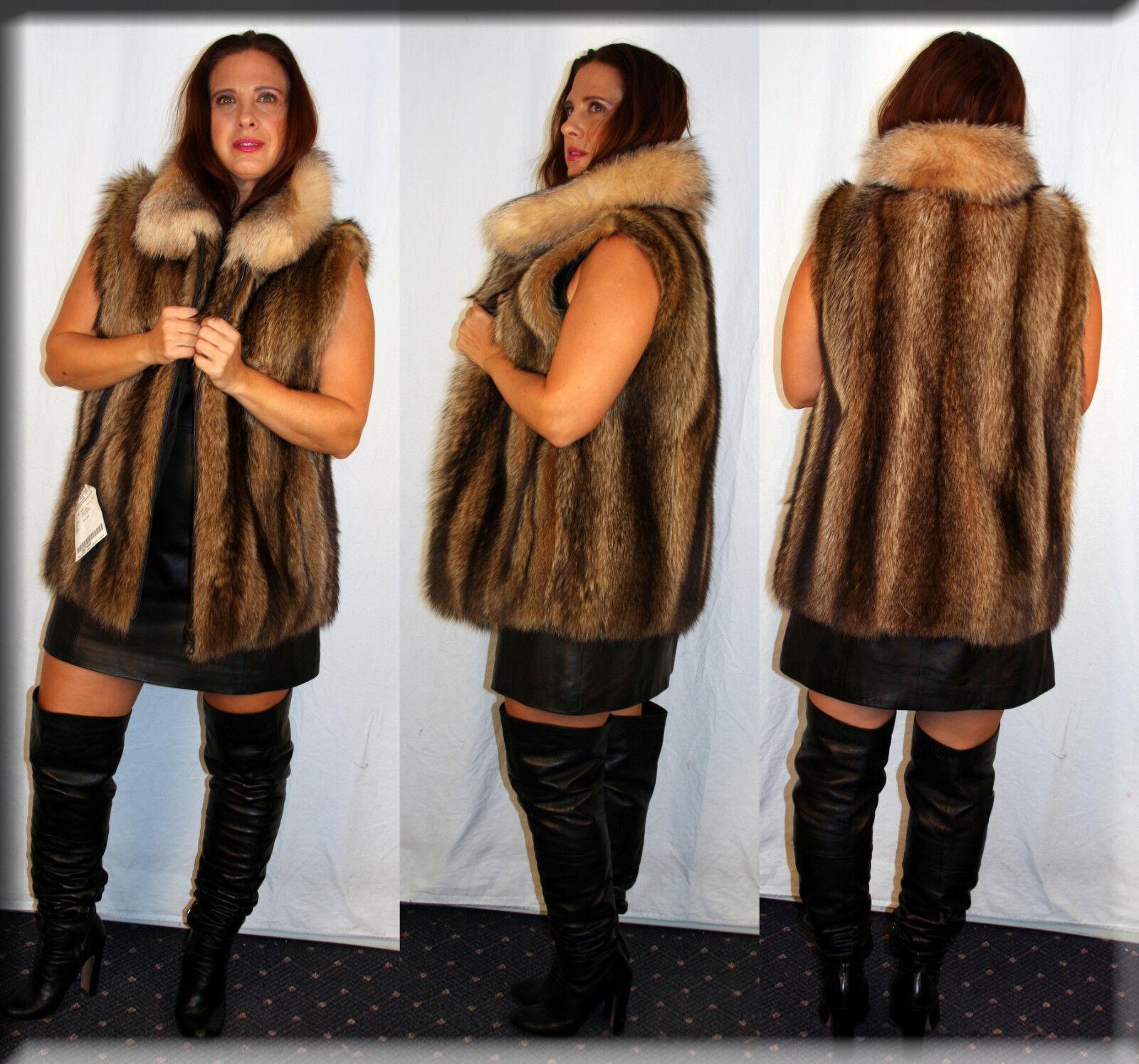 New Raccoon Fur Vest Crystal Fox Fur Trim Medium, Large and Extra Large
