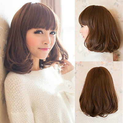 New Fashion Womens Lady Medium Long Curly Wavy Hair Full Wigs Cosplay Party