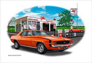 1969 Camaro SS RS 350 Garage Muscle Car Art Print Orange