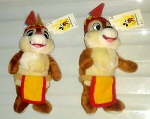 FRONTIERLAND-CHIP-amp-DALE-9-034-INDIAN-PLUSH-DOLLS-W-TAGS-WALT-DISNEY-WORLD