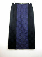 Morbid Threads Goth Steampunk Maxi Skirt L Black Purple Brocade Cosplay
