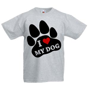 Amo il mio cane KID/'S T-shirt Bambini Ragazzi Ragazze Unisex Top