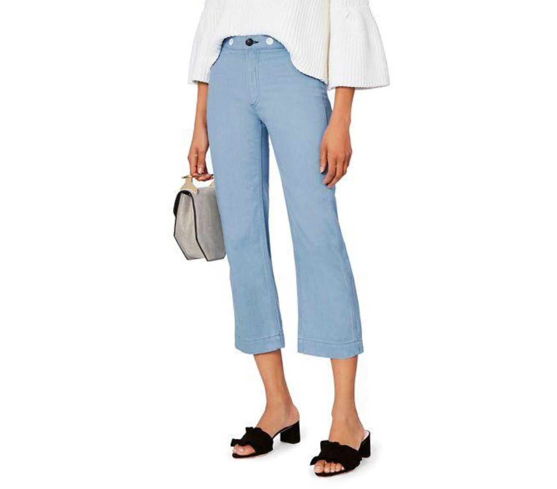 NWT  350 Rag & Bone RBW 18 Crop Grommet Jeans Sz 23 Powder bluee