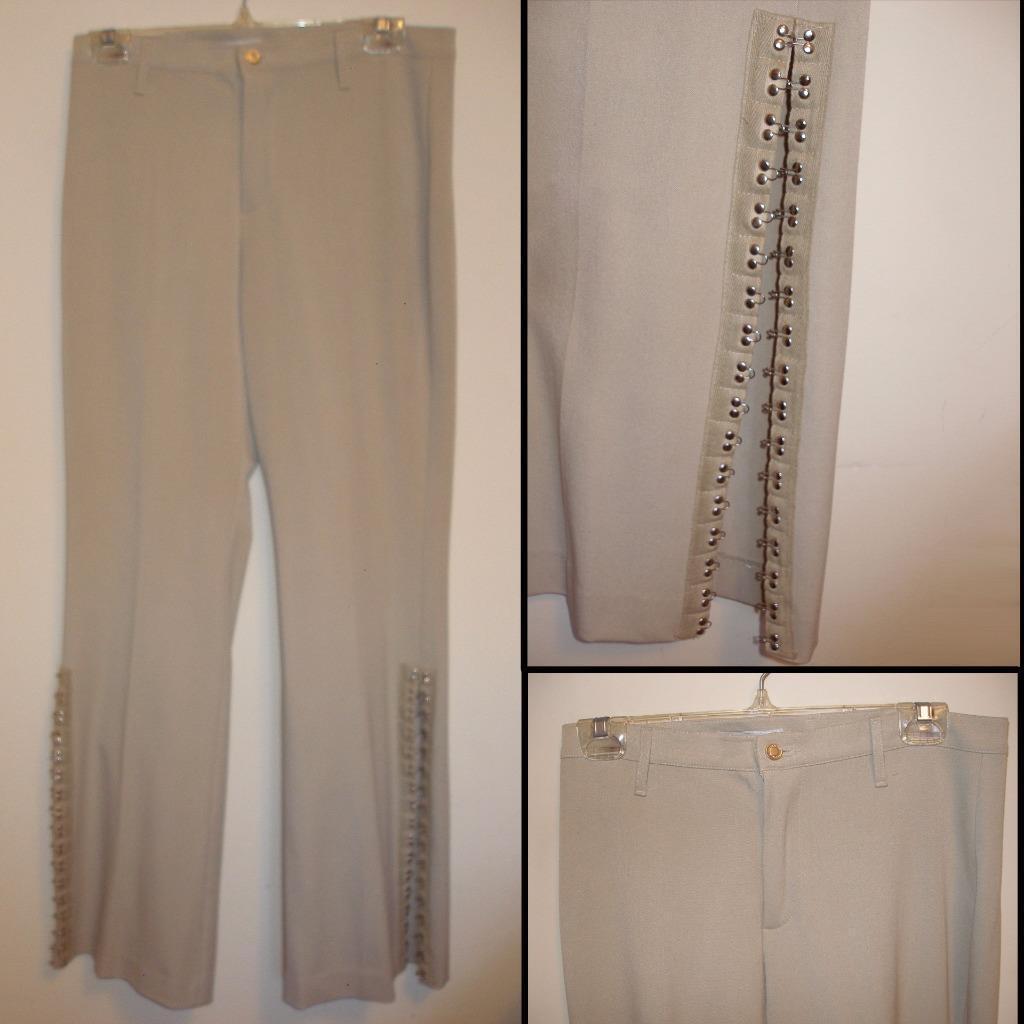 NEW greenigo Paris Beige Pants Straight Leg w Split Cuffs & Metal Hooks Size 10