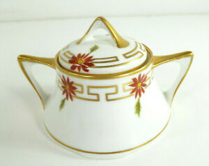 Antique-Pickard-China-Red-Flower-Covered-Sugar-Bowl-Handpainted-c1912-1918