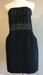 Ann-Taylor-LOFT-Black-Strapless-Eyelet-Lace-Bodice-Dress-Size-8