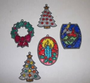 Vintage Stained Glass Plastic Christmas Ornament Set Of 5 Candle