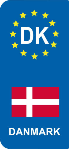 Europe DK DANMARK lot 2 Stickers style immatriculation Vinyl FLAG
