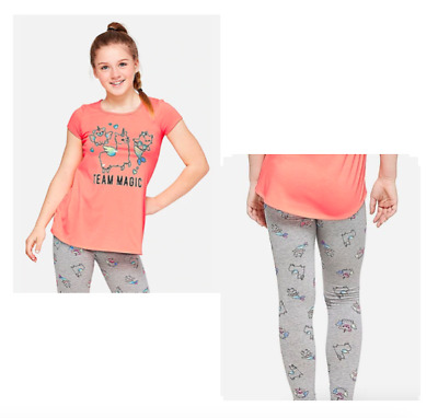 NWT Justice Girls Outfit Glitter Flowy Top//Capri Leggings Size 6 7 8 10 12 14 16