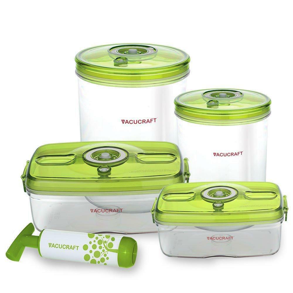 Vacucraft 5-Piece Versatile Vacuum Food Container Container Container Set 0d99f8
