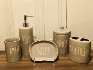 Rae-Dunn-By-Magenta-Grey-BRUSHES-RINSE-WASH-SOAP-THINGS-Bathroom-set-of-5