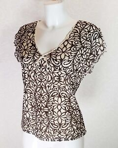 M-amp-Co-floral-Black-white-lace-Lined-V-neck-short-cap-sleeve-Casual-Top-blouse-16