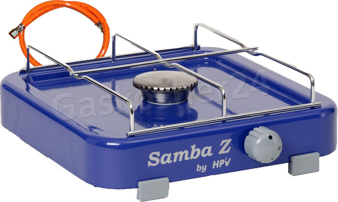 50 mbar Gaskocher SAMBA mit mit SAMBA ZÜNDSICHERUNG - Campingkocher Gasschlauch Regler NEU 86cd5d