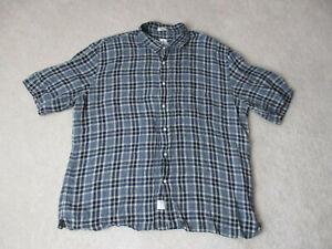 Peter Millar Button Up Shirt Adult Extra Large Gray Brown Plaid Casual Camp Mens