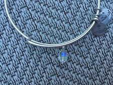 ALEX and ANI Iridescent SWAROVSKI CRYSTAL WANDA LOVE DROP Charm SILVER BRACELET