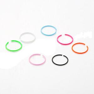 Piercing-Acciaio-Anellino-Hoop-Nose-Ring-Semplice-Colori-Neon-Fluo-22G