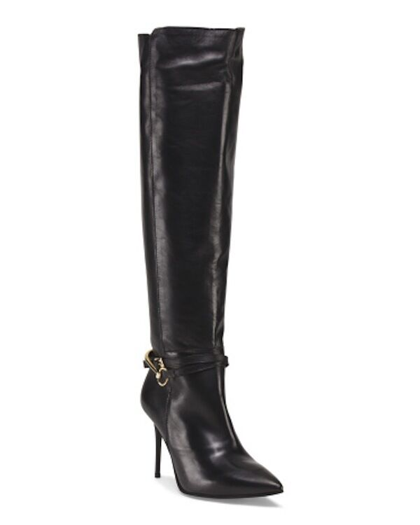 CHARLES DAVID Lomax Made In Italy Leather Black Knee High Boots Sz 5 NIB