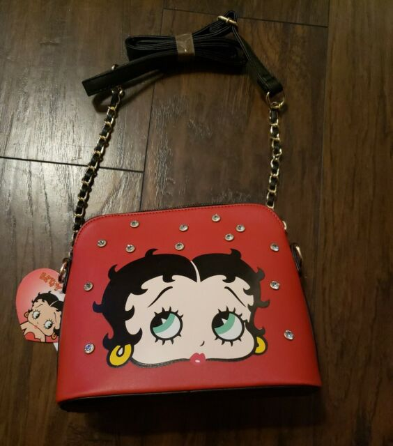 Betty Boop Brown Ostrich patchwork satchel bag handbag purse TAN