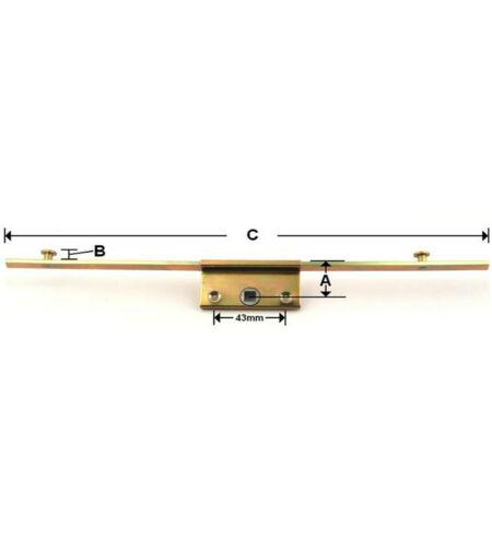 Commerce Inline fenêtre espagnolette Lock 22 mm Backset 8 mm champignon CAMS 250 mm long