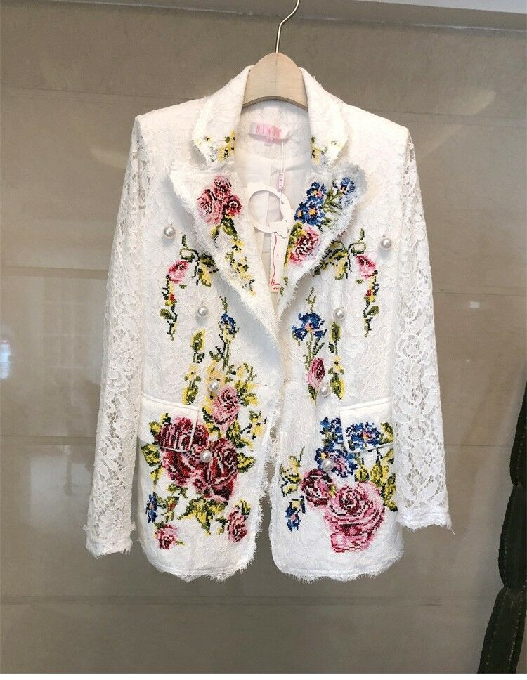 Spring womens vogue temperament Floral flower embroidery lace cut out coat 2018