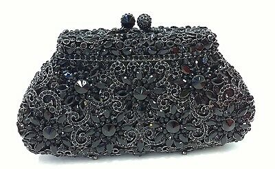 Black ~ Purse~ Handmade Austrian Crystal Evening Cocktail Party Bag