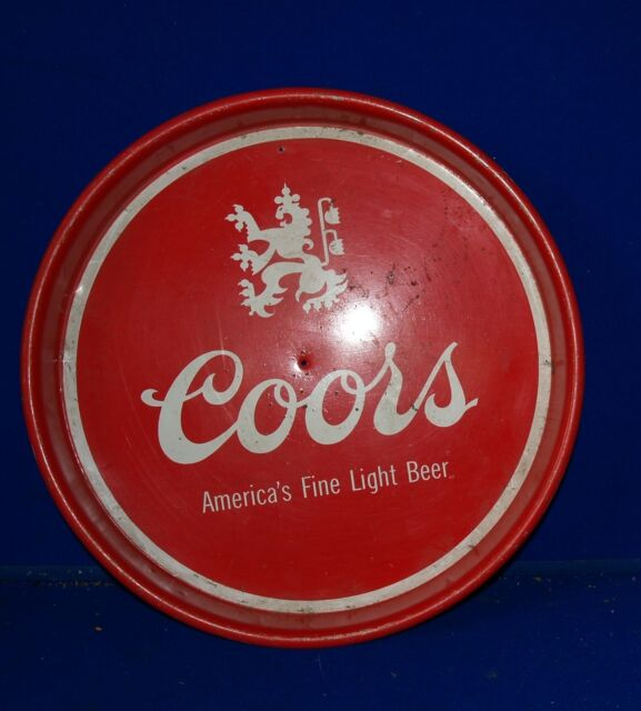 Coors metal beer tray red with white graphics 13