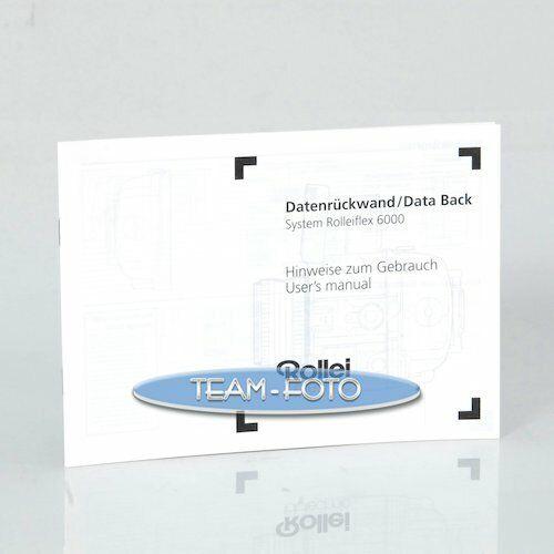 Rollei instrucciones-datos plano posterior sistema Rolleiflex 6000