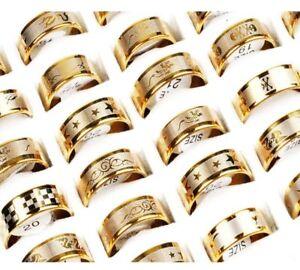 12stk-Grosshandel-Herren-Damen-Ring-Edelstahl-Band-Ring-Edelstahlringe-Gold-Neu