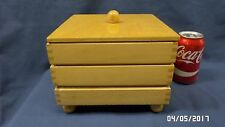 1954M Vtg Maple Wood 3 Tier Stacking Box w/Compartments Jewel/Storage 8x8x6 VGC