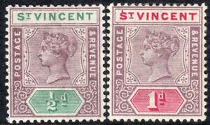 St Vincent 1899 mauve/green 1/2d mauve/carmine 1d crown CA perf 14 mint SG67/68