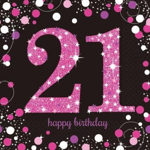 Pink Sparkling Celebration Happy Birthday Party Table Napkins Serviettes