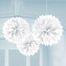 Amscan 3 White Paper Fluffy Decorations 40cm For Sale Online Ebay