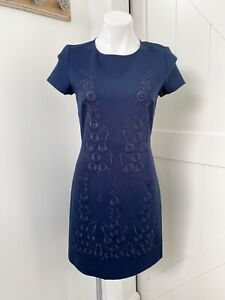 Brooks Brothers Women's Navy Blue Embroidered Short Sleeve Shift Dress Size 4