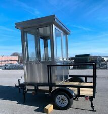 Stainless Steel 6x4ft Booth Guard Shack Mounted On 8x6 Flatbed Trailer Hvac