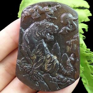 Carved chinese old jade tiger pendant bead e0012551 ebay image is loading carved chinese old jade tiger pendant bead e0012551 mozeypictures Images