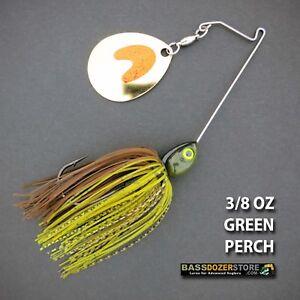 Bassdozer-spinnerbaits-SHORT-ARM-THUMPER-3-8-oz-GREEN-PERCH-spinner-bait-baits