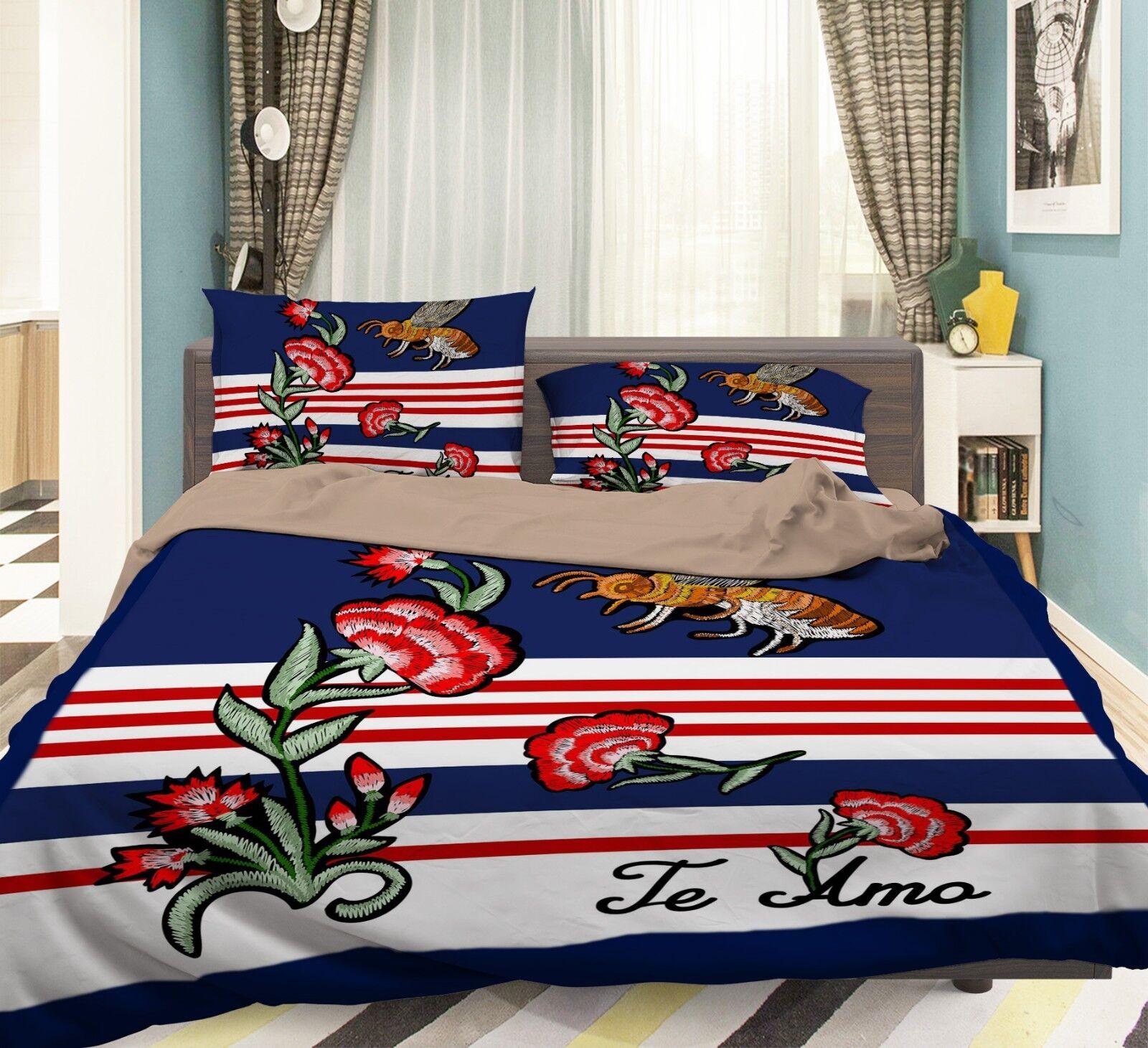 3D Pattern Flower 78 Bed Pillowcases Quilt Duvet Cover Set Single King UK Summer