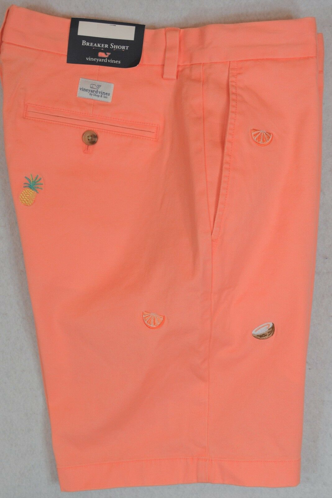Vineyard Vines Breaker Short Tropical Drink Embroidered Peach Toucan 30 32 NWT