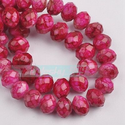 50pcs 8mm Marble Faceted Rondelle Glass Loose Spacer Beads Rose Red Colorized