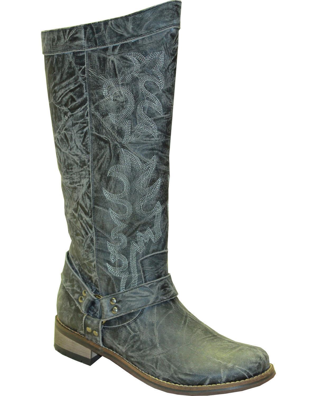 Abilene Women's Rawhide By 12  Tall Side Zipper Harness Boot Round Toe - 5910