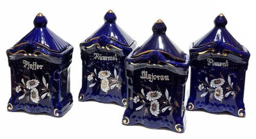4 x Keramik Gewürzdosen Gewürzbehälter Blau Set Majoran Piment Kümmel Pfeffer