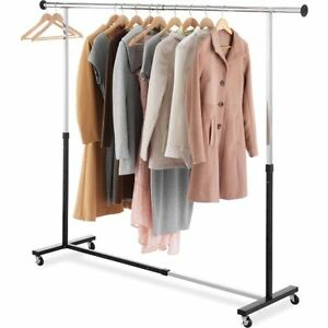 Image Is Loading Whitmor Adjustable Garment Rack Black And Chrome W