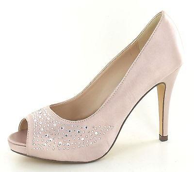 **SALE** Ladies Nude Peep Toe Stiletto Satin Court Shoes F10238  LIMITED STOCK