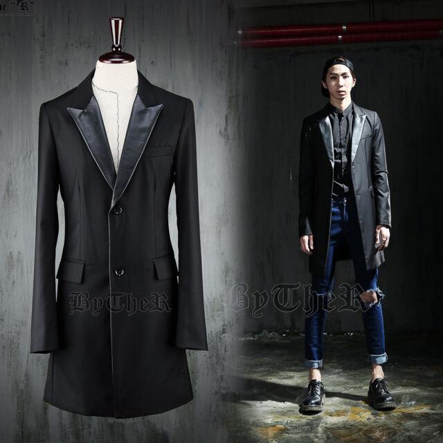 ByTheR Dandy Long Black Buttoned Chic Elegant Blazer Jacket P000BAWG